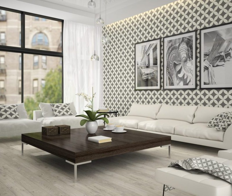Interior of living room with stylish wallpaper 3D rendering